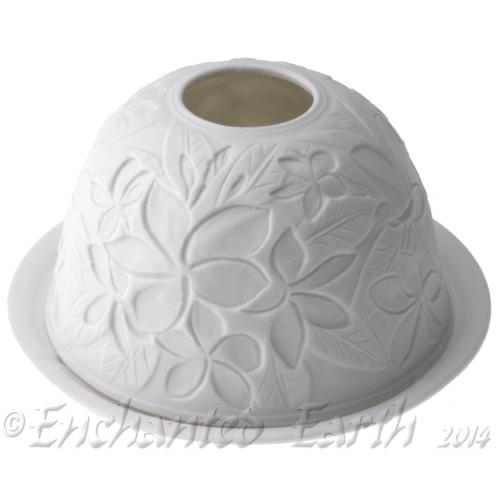 Frangipane Design White Fine Porcelain Tea Light Holder